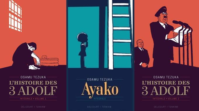 Les couvertures des trois premiers volumes de l'édition prestige anniversaire d'Ozamu Tezuka aux éditions Delcourt/Tonkam.