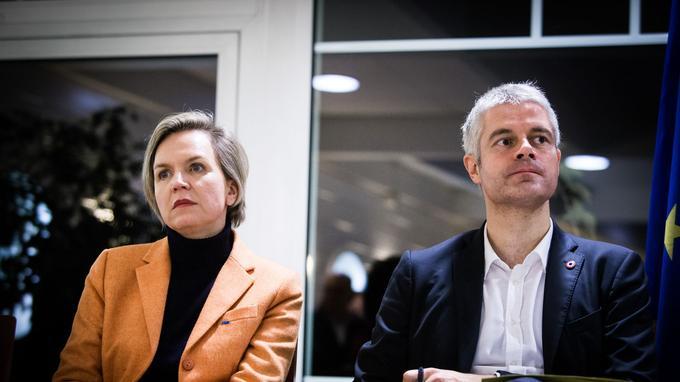 Virginie Calmels et Laurent Wauquiez, alors candidat à la présidence des Républicains, lors d'un meeting à Arcachon en novembre 2017.