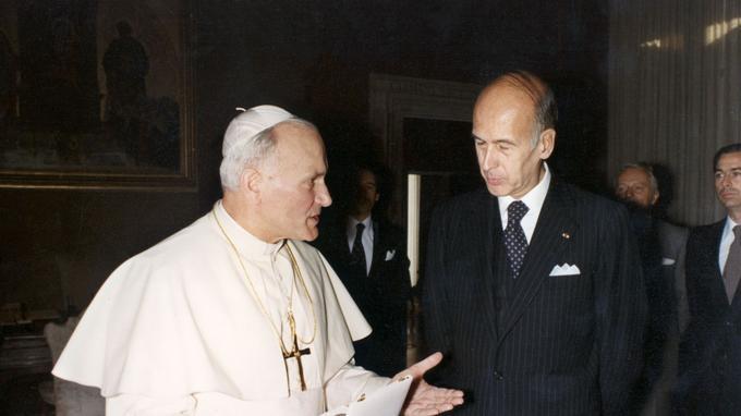 Jean-Paul II, fraîchement élu, et Valéry Giscard d'Estaing en octobre 1978