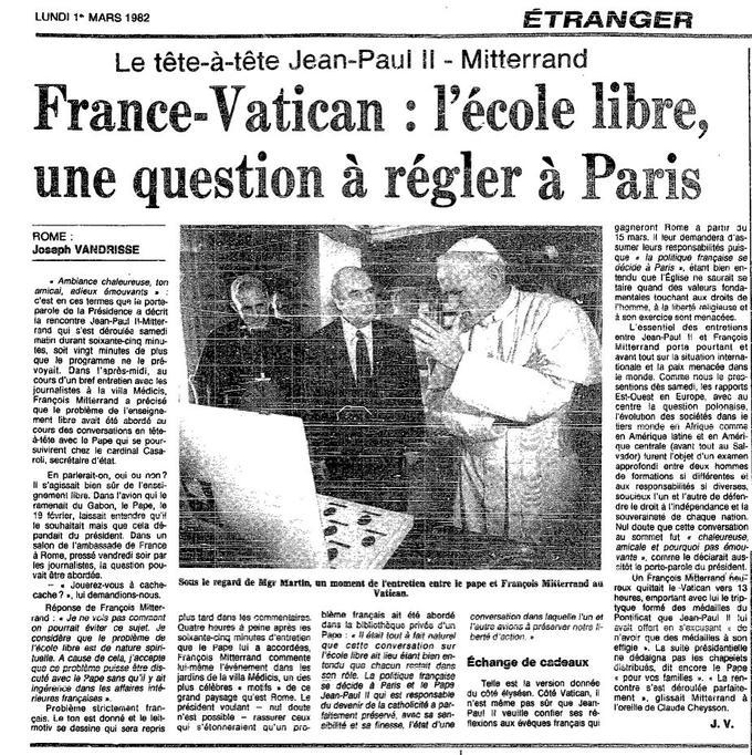 Le compte-rendu de la visite de Mitterrand à Jean-Paul II dans <i>Le Figaro</i> du 1er mars 1982