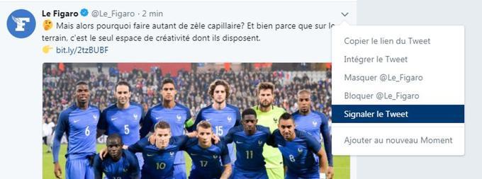 Comment signaler un tweet sur Twitter (l'autrice de ces lignes n'a rien contre les coupes de cheveux des footballeurs)