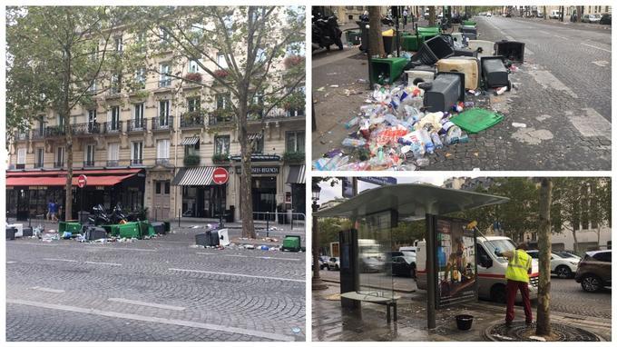 Des poubelles renversées avenue Marceau, un agent de propreté de la ville de Paris nettoie à grande eau un abri bus.