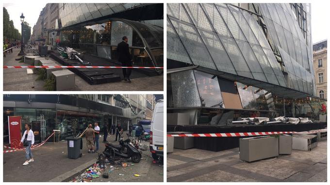 Vitres brisées, jardinières renversées, parasols cassés... Les dégâts sont nombreux sur la terrasse du Publicis Drugstore.