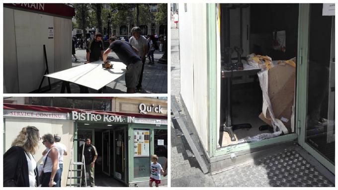 Pour anticiper toutes dégradations, des boutiques ont cloué des panneaux en bois sur leurs vitrines.