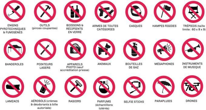 Les objets interdits sur le site.