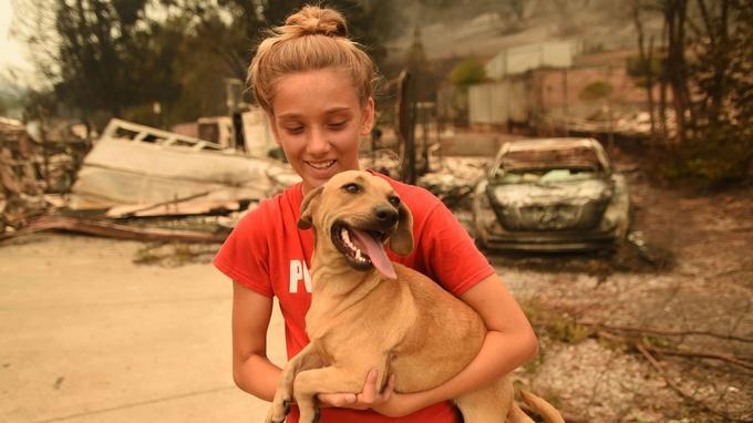 Kambryn Brilz, 12 ans, tient son chien Zoe, devant sa maison brûlée après qu'elle a été mise en sécurité par un voisin pendant l'incendie
