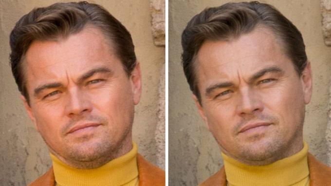 À gauche, Leonardo DiCaprio avant retouches, son double menton est celui d'un homme de 43 ans. À droite, la version retouchée: le menton de l'acteur est lissé et diminué.