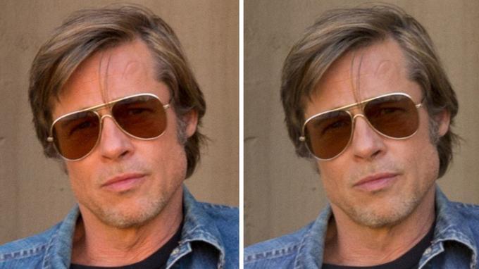 À gauche, la version sans retouche où les rides du cou de Brad Pitt sont visibles. À droite, après retouches, les rides sont lissées et ont quasiment disparu.