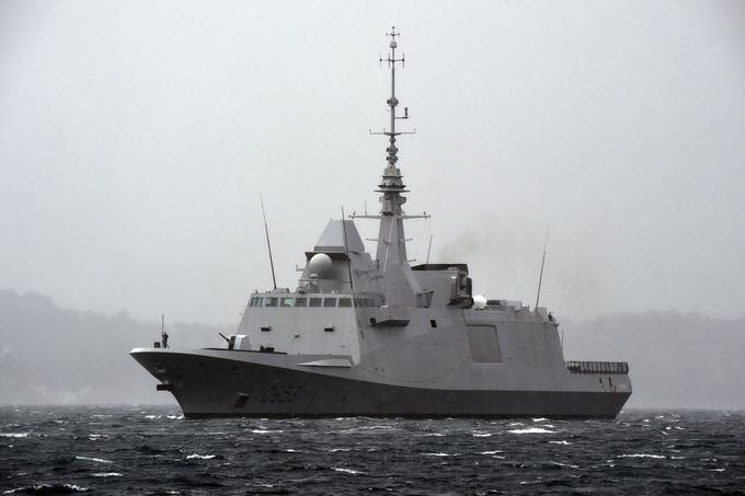 La FREMM (Frégate Européenne Multi-Missions) <i>Languedoc</i>, construite à Lorient par Naval Group.