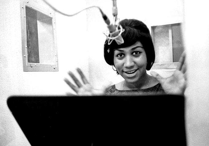 Aretha Franklin en studio en 1967