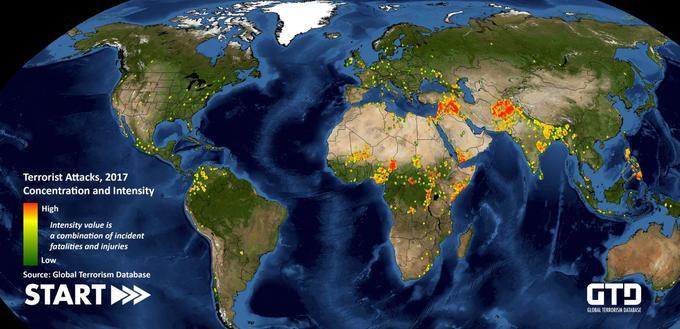 Carte réalisée par l'université du Maryland, montrant les attaques terroristes et ses victimes à travers le monde.