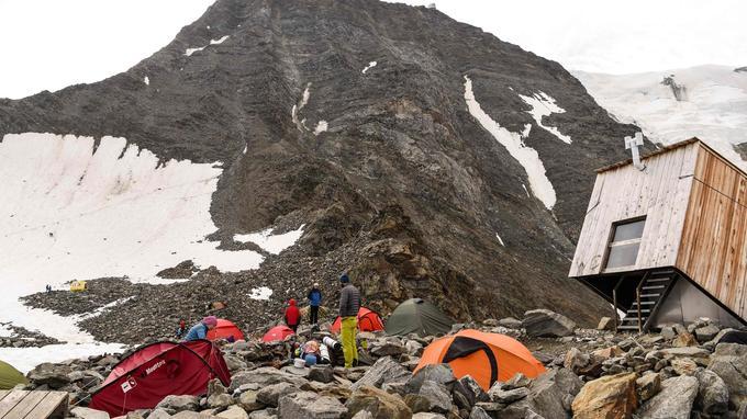 Le «couloir du Goûter» sur la voie normale d'accès au Mont-Blanc.