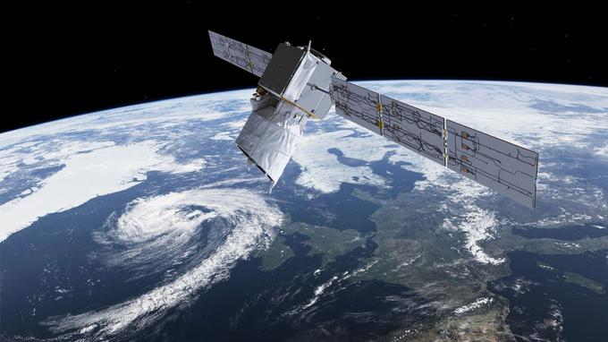 Le satellite européen Aeolus est le premier engin capable de mesurer les vents depuis l'espace, même par temps clair (vue d'artiste).