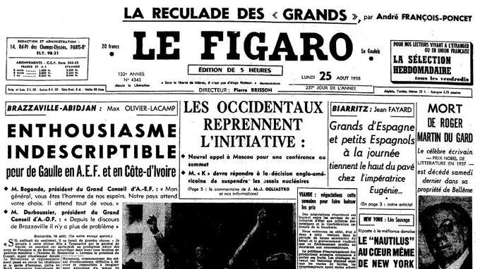La Une du «Figaro» du 25 août 1958.