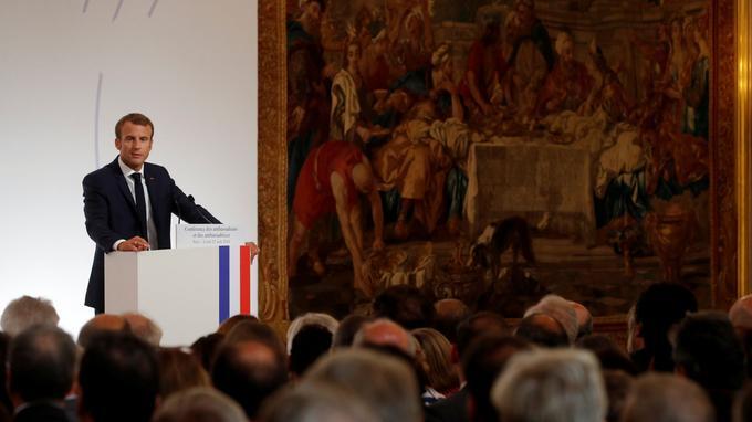 Emmanuel Macron a ouvert la conférence des ambassadeurs, lundi, à l'Élysée.