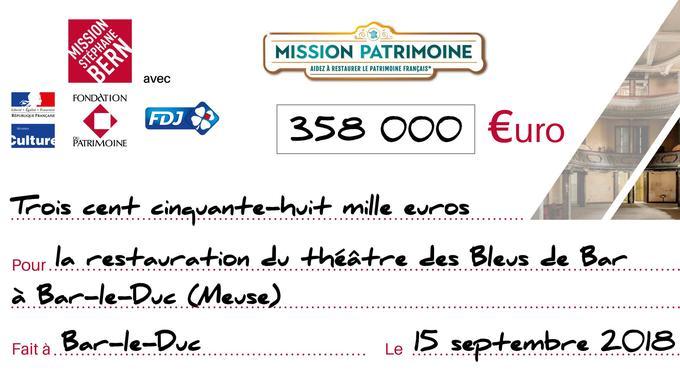 Prototype du chèque que pourrait recevoir le théâtre des Bleus de Bar-le-Duc (Meuse) grâce aux jeux de grattage Mission patrimoine.