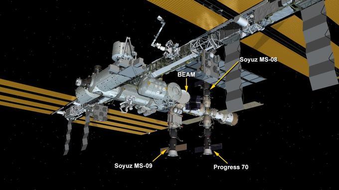 La fuite d'air a été trouvée dans le vaisseau Soyouz MS-09 (en bas sur cette image de synthèse).