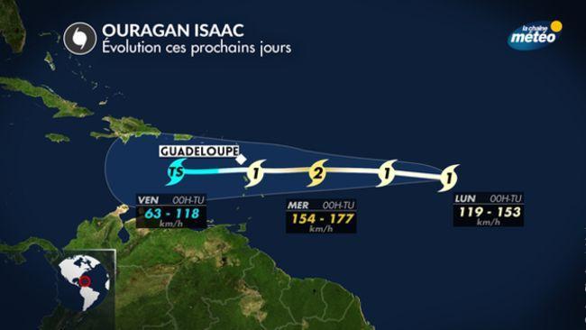 Trajectoire prévue de l'ouragan Isaac.