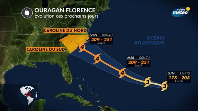La trajectoire prévue de l'ouragan Florence.