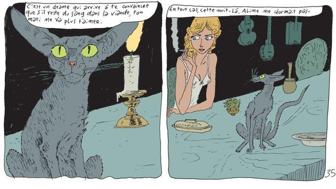 Dans ces deux cases, le chat du rabbin semble à l'écoute comme un prêtre. La jeune héroïne est entendue en confession par ce greffier malicieux, mais bienveillant.