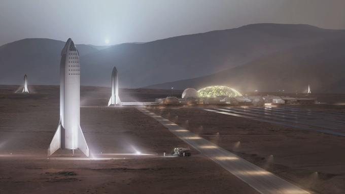 Vue d'artiste de la navette BFR posée sur la surface de Mars.