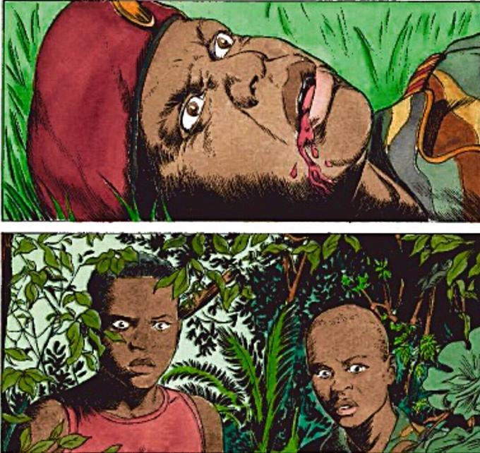 En deux cases, Van Hamme et Simon résument le message de leur livre: il faut savoir se dresser contre l'abjection qui sévit au Kivu. C'est en restant debout qu'on abattra l'infamie...