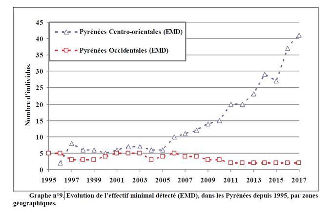 Évolution des populations d'ours dans les deux zones géographiques, est et ouest des Pyrénées, depuis 1995.