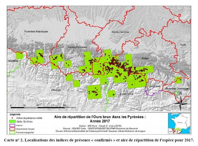 Localisation des traces et signes de présence des ours dans les Pyrénées, en France, Andorre et Espagne, en 2017.