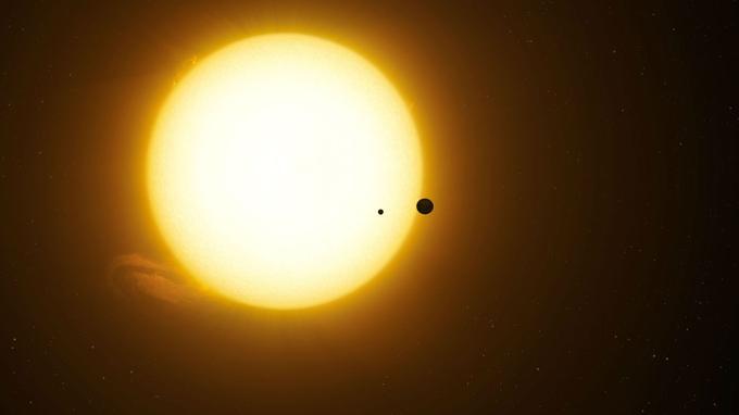 Vue d'artiste du premier couple planète-lune qui aurait été découvert dans les données du satellite Kepler.