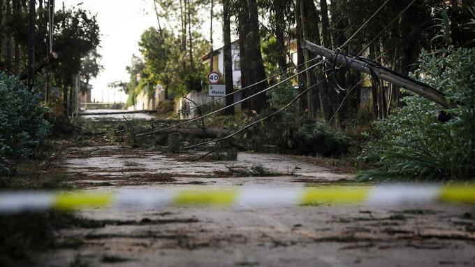 Des lignes électriques ont été jetées au sol et des routes bloquées par les débris.