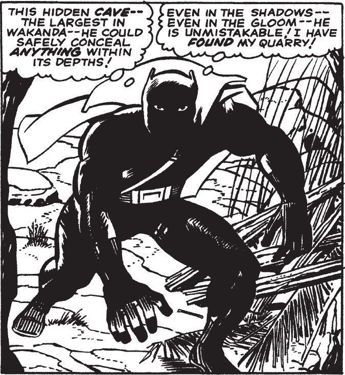 Cette case vient de sa deuxième apparition dans «Fantastic Four», dessinée par Kirby et encrée par Joe Sinnott. Crédits: «Black Panther», Kirby & Lee © Marvel Comics.