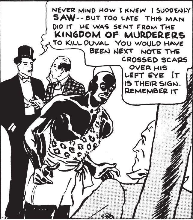 Cette case vient de la deuxième planche du dimanche, publiée en 1935, indique Fredrik Strömberg. Crédits: «Mandrake», Davis & Falk, © King Features Syndicates, Inc.