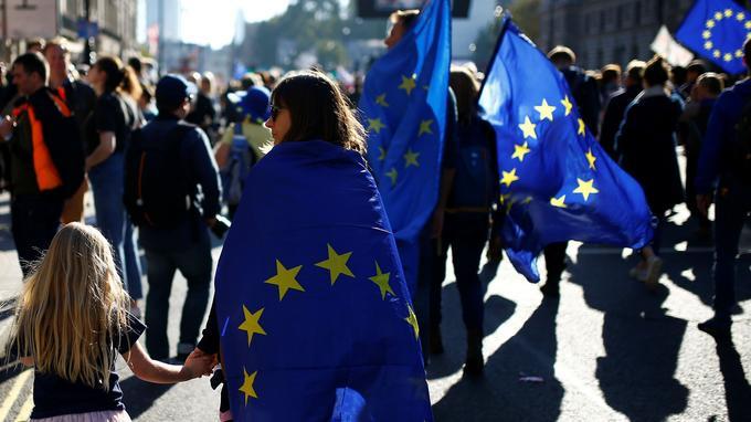 On pouvait voir dans la foule des pancartes, des nuées de drapeaux bleus étoilés ou des bérets aux couleurs de l'Europe.