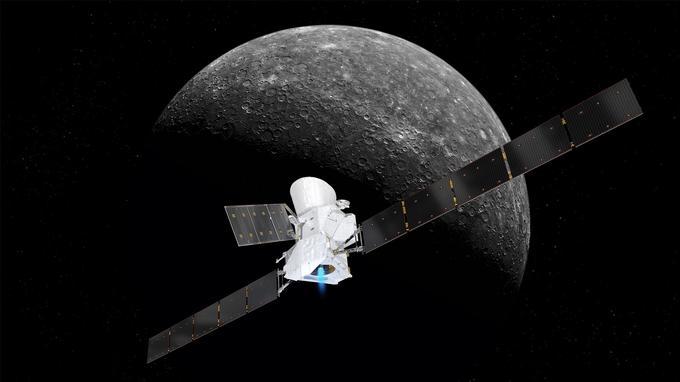 Vue d'artiste de la sonde BepiColombo en approche de Mercure.
