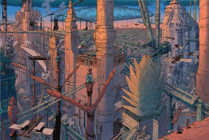 Comme le précise Vincent Perriot, «cette fresque fourmille de détails. On y découvre des villes suspendues, de vaisseaux volants, des lignes de force entremêlées. J'avais envie de créer un «Effet waouh!», qui puisse couper le souffle au jeune héros.»