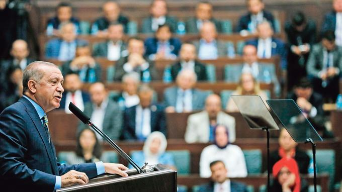 Recep Tayyip Erdogan, lors de sa prise de parole devant le parlement, mardi à Ankara - Crédits photo: Presidency Press Service/AP