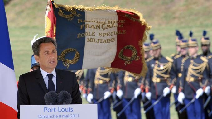Nicolas Sarkozy à Port-Louis (Morbihan), le 8 mai 2011. <br/><b>» À VOIR AUSSI - Macron: «Pétain a été un grand soldat pendant la Première Guerre mondiale»</b>
