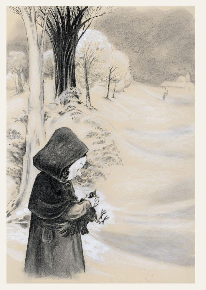 Cette image a été réalisée sur un papier teinté, au fusain et à la craie blanche.