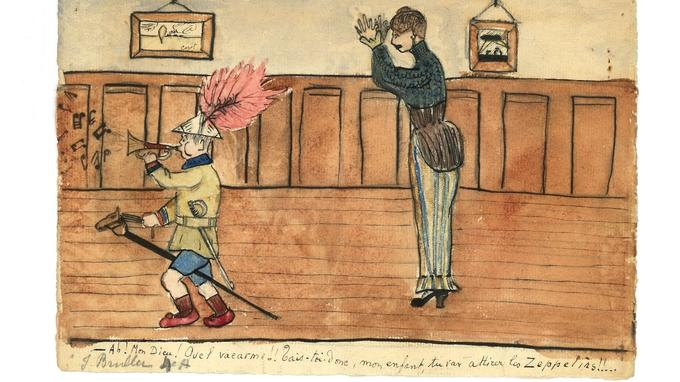Les jeux guerriers et l'enrôlement des enfants jusque dans l'univers familial: réprimandé par sa mère, un garçonnet parade, juché sur son cheval de bois, comme un meneur de troupe à l'allure triomphante. L'auteur de ce dessin est Jean Bruller, alias Vercors, l'auteur du fameux «Silence de la mer», alors âgé de 13 ans.