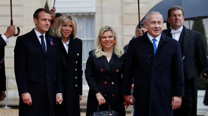 Le premier ministre d'Israël Benyamin Nétanyahou et sa femme Sara reçus à l'Élysée.