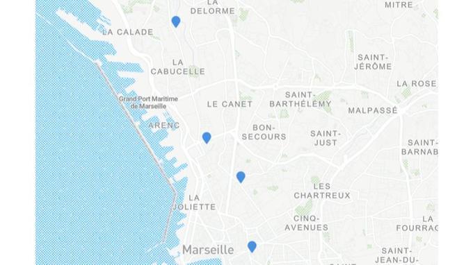 Lieux des évacuations à Marseille.