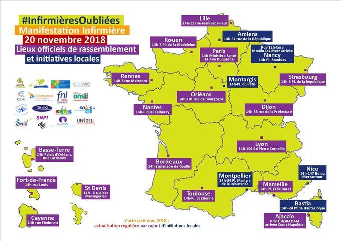 La carte de la mobilisation prévue des infirmières (prévisions au 6 novembre).