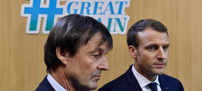 Nicolas Hulot et Emmanuel Macron, lors de la conférence sur le changement climatique, à Bonn, en Allemagne, le 15 novembre 2017.