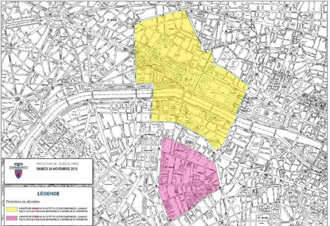En jaune, les restrictions de circulation prévues samedi dernier par la préfecture de police dans le cadre de la manifestation des «gilets jaunes».