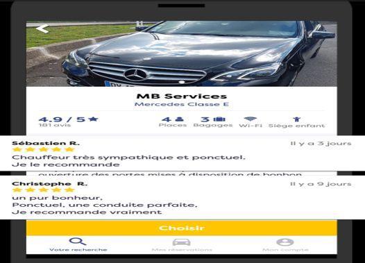 L'application «Eurecab» permet de voir des photos du véhicule ainsi que les notes des clients précédents.