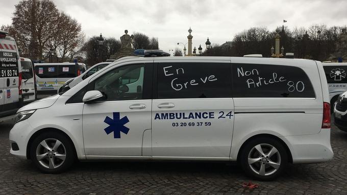 Place de la Concorde à Paris, les ambulanciers protestent contre l'article 80 du PLFSS.