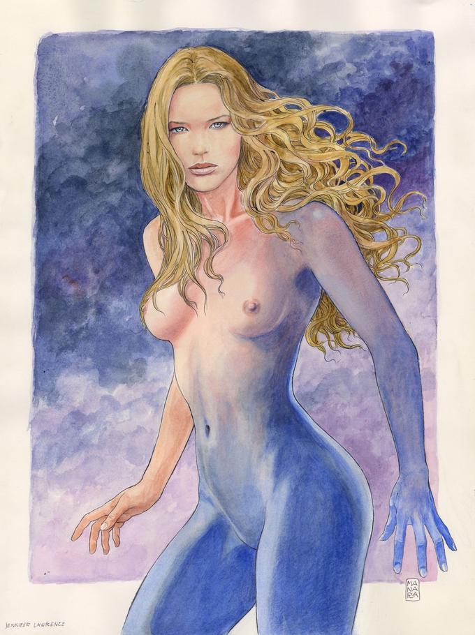 «Jennifer Lawrence», encre de Chine et aquarelle sur papier, 27.000 euros