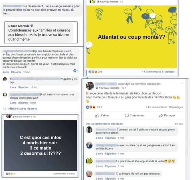 Messages issus de groupes de discussion de «gilets jaunes» nationaux les plus actifs sur Facebook.