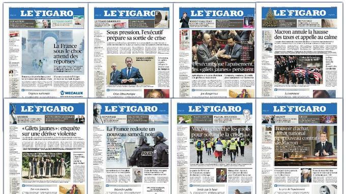 Les unes du <i>Figaro</i> du 3 au 11 décembre.