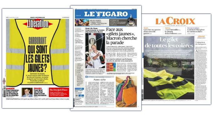 Les unes de <i>Libération </i>et <i>Le Figaro</i>, le 13 novembre, et de <i>La Croix</i>, le 14 novembre.